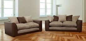 HIGH QUALITY *** New Byron Left / Right Hand Corner Sofa In Brown Colour, New Fabric Corner Sofa