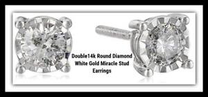 NEW  14k Round Diamond White Gold Miracle Stud Earrings