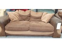 Brown suede look 3 seat sofa and matching cuddle chair 34151A £185