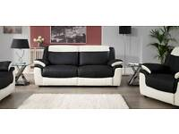 Leo Black & White Leather 3 Seat Sofa