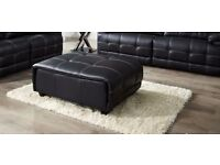 BRAND NEW AXIS from ScS FOOTSTOOL / POUFFE Black Leather with Contrast Stitch RRP £399 *CAN DELIVER*