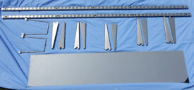 Spur Metal Shelving Brackets in Metallic Silver & Silver Shelves all as new. £20 ono