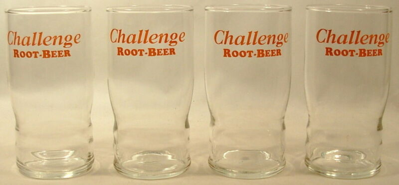 FOUR CHALLENGE ROOT BEER ADVERTISING GLASSES CIRCA 1960