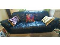 2 & 3 seater navy leather sofas