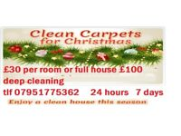 £30 per room- full house £75 same day professional -spotless service, guaranteed! fully insured