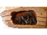 Unusual Wooden Carved Elephants Ornament From Thailand