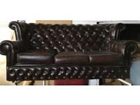 Leather 3 seater chesterfield and Chair