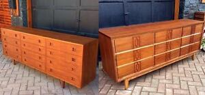 REFINISHED Mid Century Modern Teak and Walnut Dressers 12 and 9 Drawers