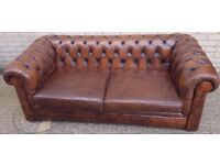 1 x Brown Two Seater Chesterfield Sofa, REF: 5