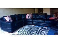 Gorgeous DFS Black Leather Corner Curvy Sofa
