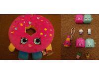 New Extra Large Giant Shopkins D'Lish Donut Soft Toy Plush Dangler Lippy Lips Keyring 4 Figures