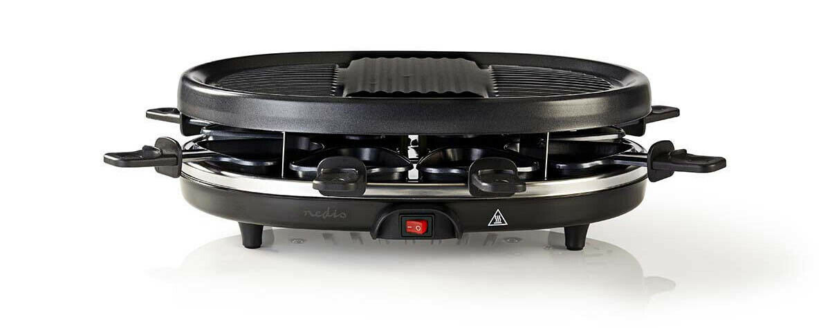 Raclette, elektrischer Party Tisch Grill für 8 Personen, Antihaftbeschichtung