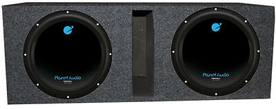 "Planet Audio 12"" 3600W DVC Subwoofer AC12D (2)+Dual 12"" Vented Sub Box Corral"