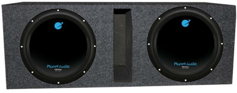 """Planet Audio AC12D 12"""" 3600W 4 Ohm DVC Car Subwoofer Pair w/ Dual Sub Enclosure"""