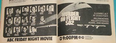 1975 TV GUIDE MOVIE AD~MURDER ON FLIGHT 502~FARRAH FAWCETT~SONNY BONO~DANE CLARK