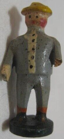 Old Wood Carved Miniature Erzgebirge Man in Suit for Christmas Putz Village
