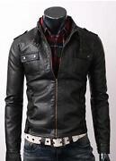 Mens Leather Biker Jacket Large