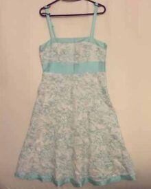 Dress - Monsoon Size 12 White/Mint Green