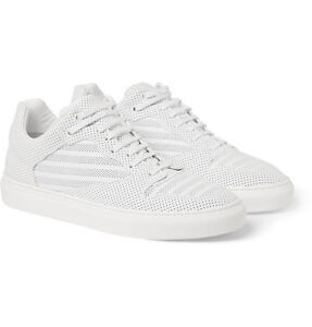 Balenciaga White Perforated- Leather Sneakers