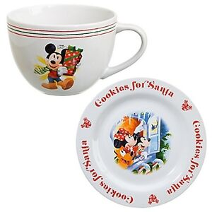 Disney-STORE-Cookies-for-Santa-Mickey-Mouse-Plate-and-Mug-Set-2-Pc-NEW