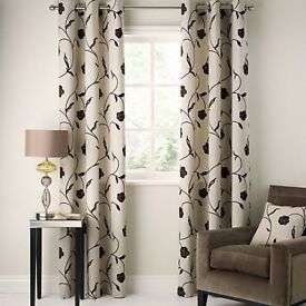 John Lewis Sarah Eyelet Curtains Chocolate and Cream W195 x Drop 228cm