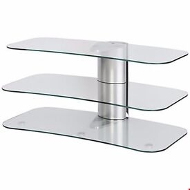 Sale-Sale BRAND NEW Off The Wall ARC 800 Silver Curved Glass TV Stand Fits up to 55inch TVs
