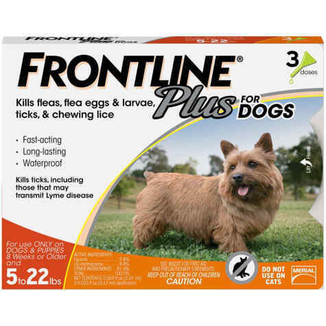 FRONTLINE Plus Flea and Tick Treatment for Dogs (5-22 Pounds,3 Doses)
