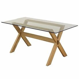 John Lewis Gene glass topped 6 seater dining table RRP.£299 EX DISPLAY NEW