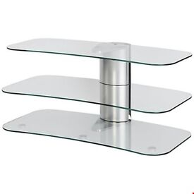 Off The Wall ARC 800 Silver Curved Glass TV Stand Fits up to 55inch TVs ( Flat Pack)