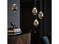 John Lewis Droplet LED 3 Pendant Ceiling Light, Gold