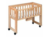 John Lewis side cot with mattress and 2 sheets