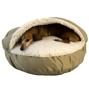 "New Snoozer Cozy Cave Pet Bed in Khaki & Cream, 45"" L x 45"" W PU4"