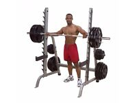 Weight Rack, Bench, 105KG Olympic weights and Bar with clamps.