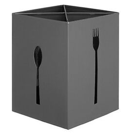 Brand NEW Clearance House by John Lewis Cutlery Steel Box Holder Must Go From Smoke & Pet Free Home