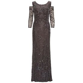 Gina Bacconi Beaded Maxi Dress With Cut Out Shoulder, Pewter, UK Size 12