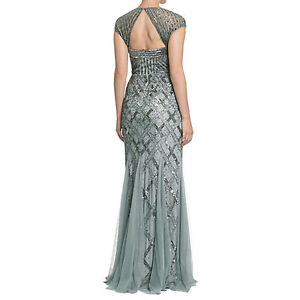 Adrianna Papell Cap-Sleeve Bead Gown - Size 6P
