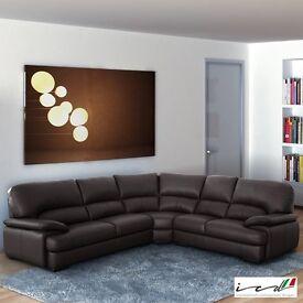 Positano Italian Leather Corner Sofa, Brown