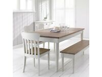 John Lewis Drift Rectangular 6 Seater Dining Table, Cream with 2 Chairs.