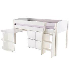 Girls Stompa mid-sleeper bed with desk & 2 door storage cube