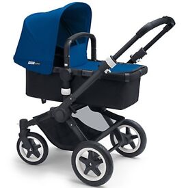 Bugaboo Buffalo Pushchair Base, Tailored Fabric Set, Royal Blue, Car Seat Adapter and changing bag