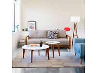 House by John Lewis Abin Coffee Table White / Oak £60 / H45 x Dia.90cm - collection only