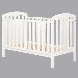 John Lewis 'Rachel' White Cot Bed with Mattress - Used in Excellent Condition - £60