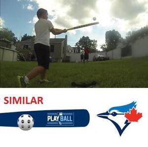 "NEW BLUE JAYS 30"" WIFFLE BALL SET 129052970 BASEBALL BAT BALL 30"" PLAY BALL TORONTO"