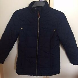 NEXT Girls Blue Jacket with Brown Elbow Pads (7-8 years)