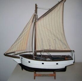 """Model Of The Famous """"Spray"""" Sailed By Joshua Slocum Around The World."""
