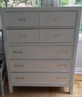 White Tall boy dresser with gold handles