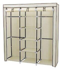 Songmics Canvas Wardrobe Cupboard Clothes Hanging Rail Storage Shelves Beige 175 x 150 x 45 cm