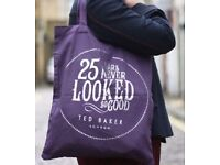 Purple Silver Ted Baker 25 Years Has Never Looked So Good Canvas Tote Shopper.