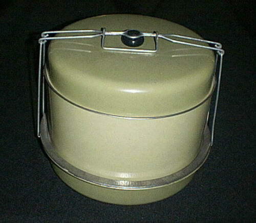 Vintage J L Clark 3-Tier ~Triple Decker~ Metal Cake / Pie/ Food Carrier & Handle