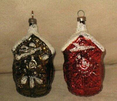 Lot Of 2- VTG German *CUCKOO CLOCK W/ MICA MERCURY GLASS ORNAMENTS* Figural Xmas